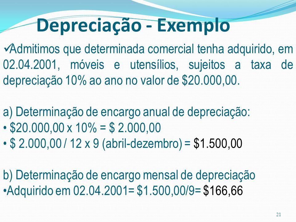 Depreciação - Exemplo