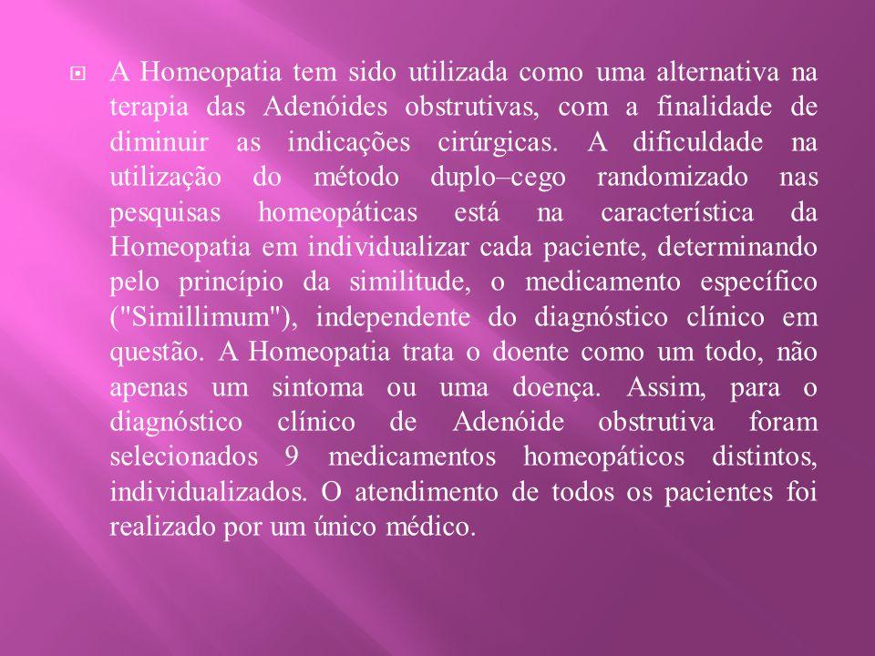 A Homeopatia tem sido utilizada como uma alternativa na terapia das Adenóides obstrutivas, com a finalidade de diminuir as indicações cirúrgicas.