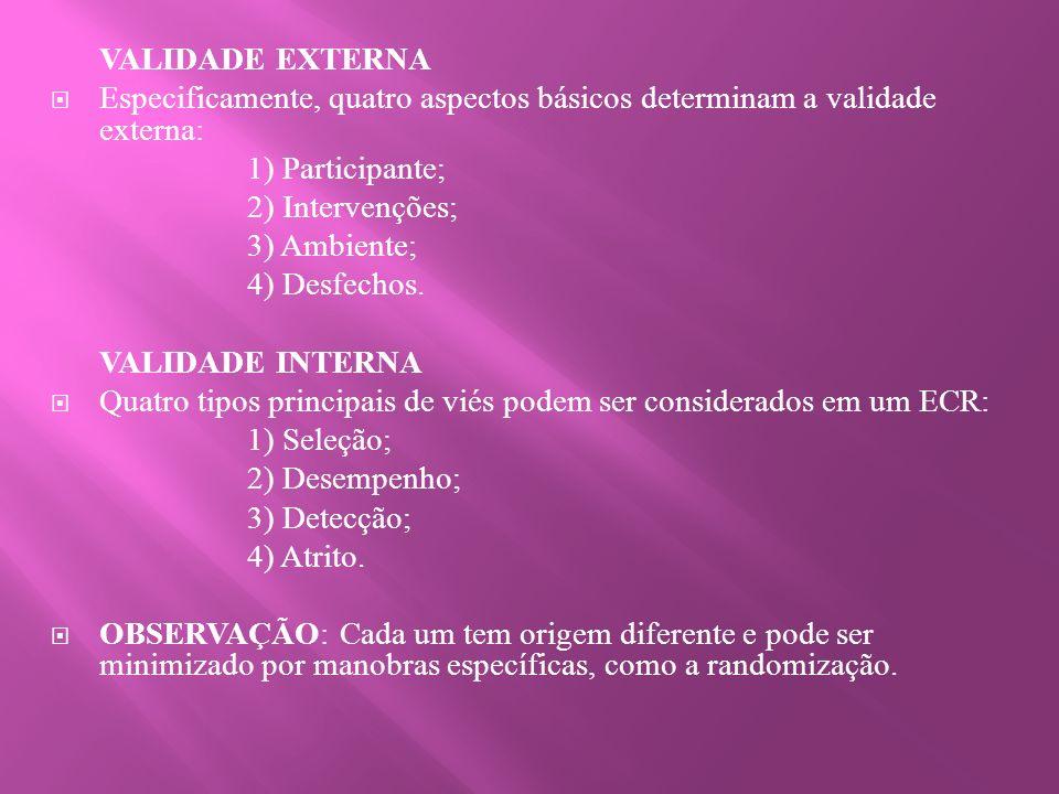 Quatro tipos principais de viés podem ser considerados em um ECR: