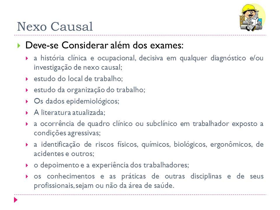 Nexo Causal Deve-se Considerar além dos exames: