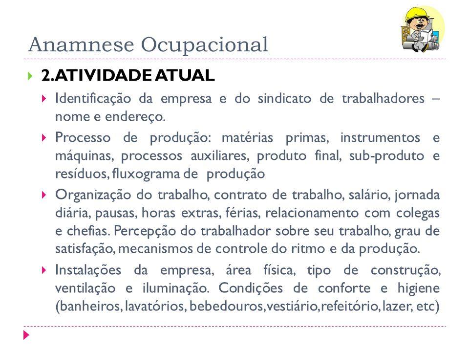 Anamnese Ocupacional 2.ATIVIDADE ATUAL