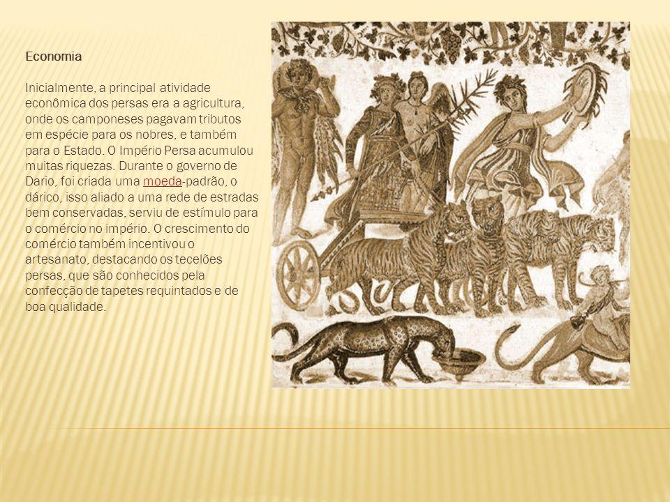 Economia Inicialmente, a principal atividade econômica dos persas era a agricultura, onde os camponeses pagavam tributos em espécie para os nobres, e também para o Estado.
