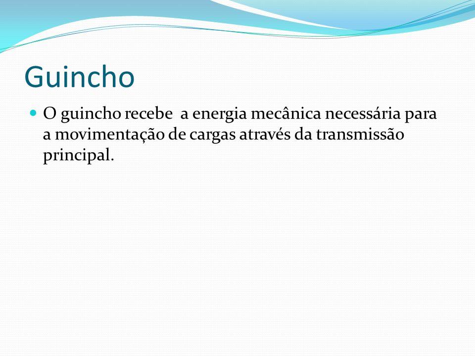 Guincho O guincho recebe a energia mecânica necessária para a movimentação de cargas através da transmissão principal.