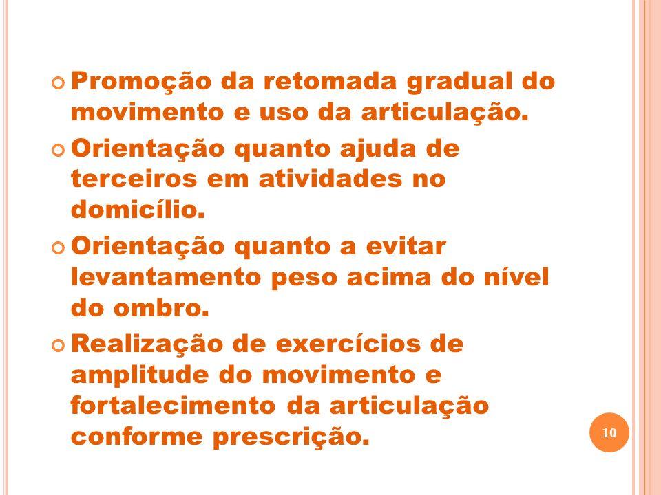 Promoção da retomada gradual do movimento e uso da articulação.