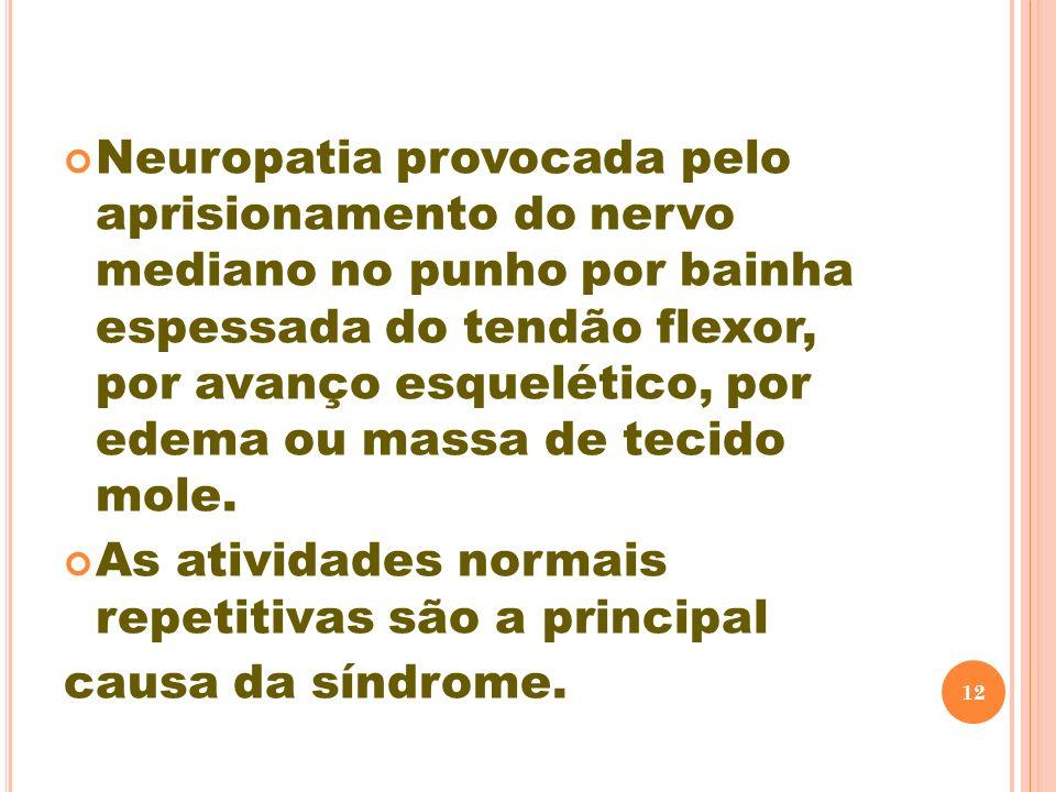 Neuropatia provocada pelo aprisionamento do nervo mediano no punho por bainha espessada do tendão flexor, por avanço esquelético, por edema ou massa de tecido mole.