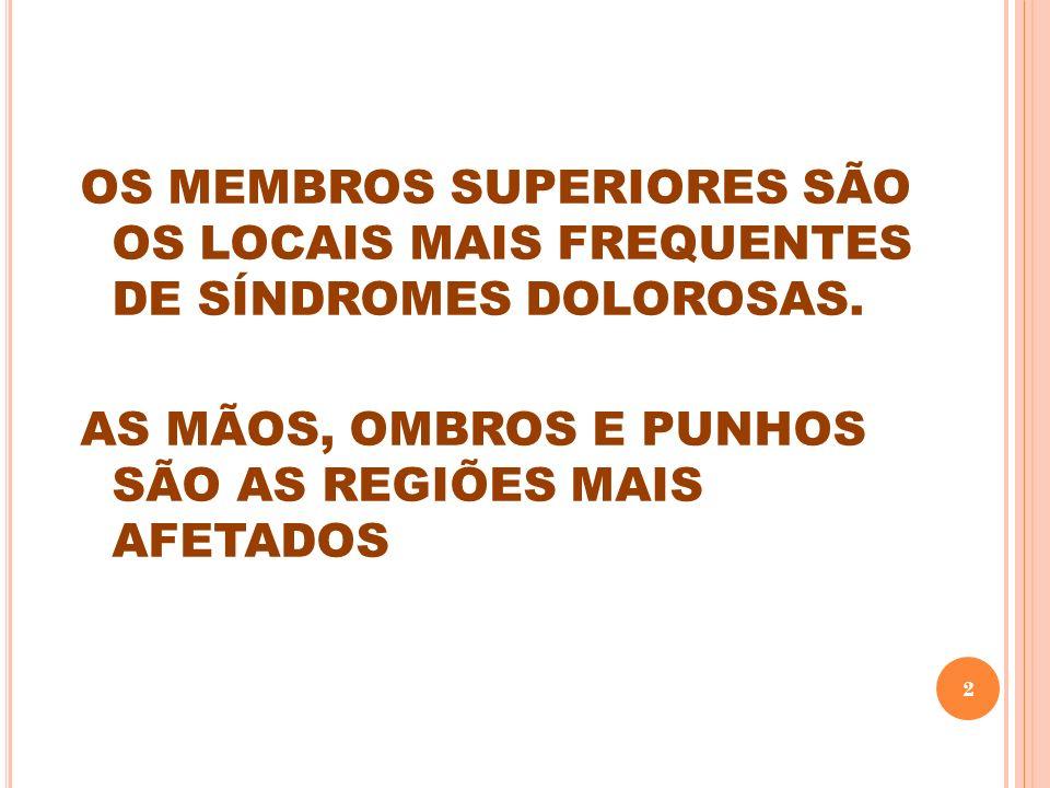 OS MEMBROS SUPERIORES SÃO OS LOCAIS MAIS FREQUENTES DE SÍNDROMES DOLOROSAS.