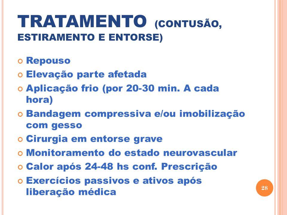 TRATAMENTO (CONTUSÃO, ESTIRAMENTO E ENTORSE)