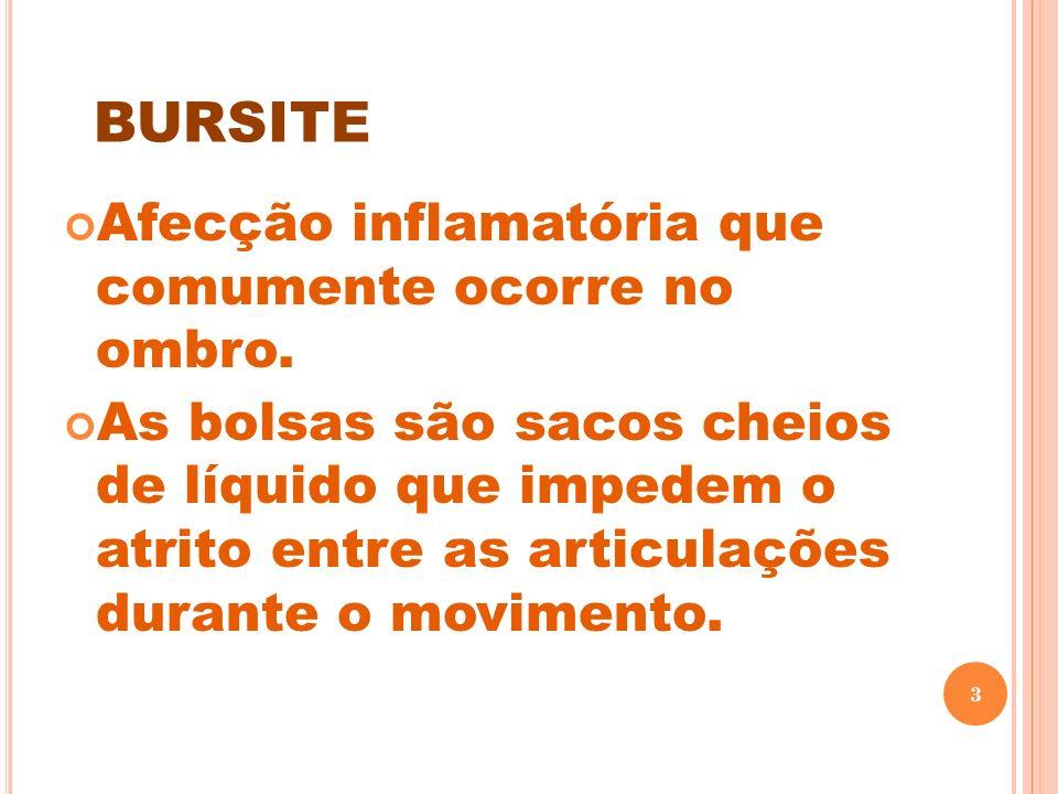 bursite Afecção inflamatória que comumente ocorre no ombro.