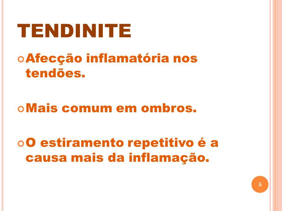 TENDINITE Afecção inflamatória nos tendões. Mais comum em ombros.
