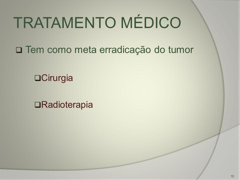 TRATAMENTO MÉDICO Tem como meta erradicação do tumor Cirurgia