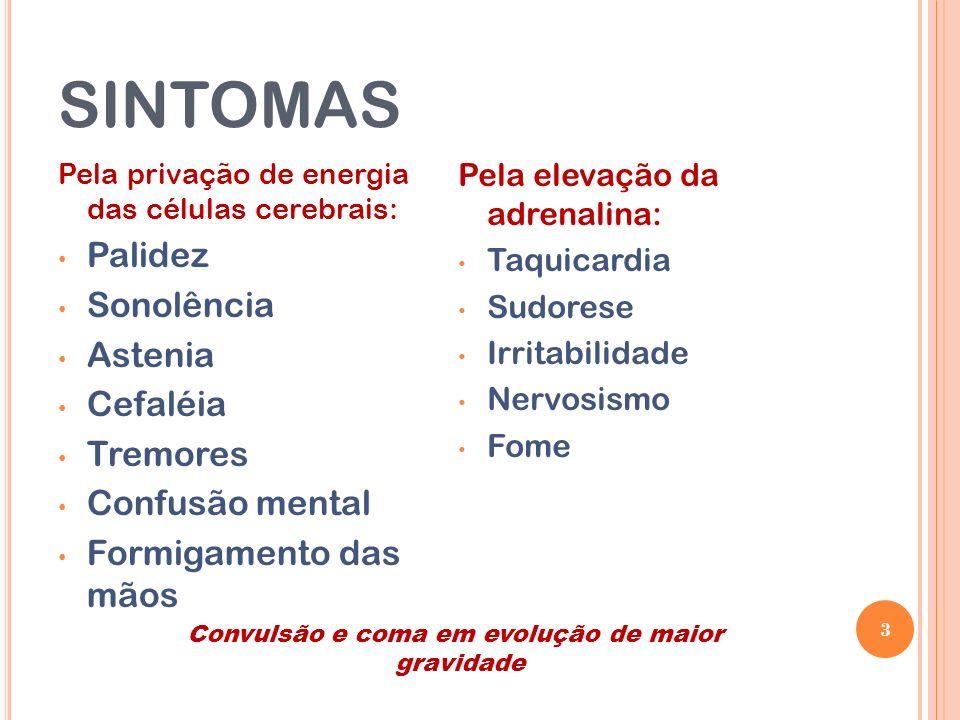 sintomas Palidez Sonolência Astenia Cefaléia Tremores Confusão mental