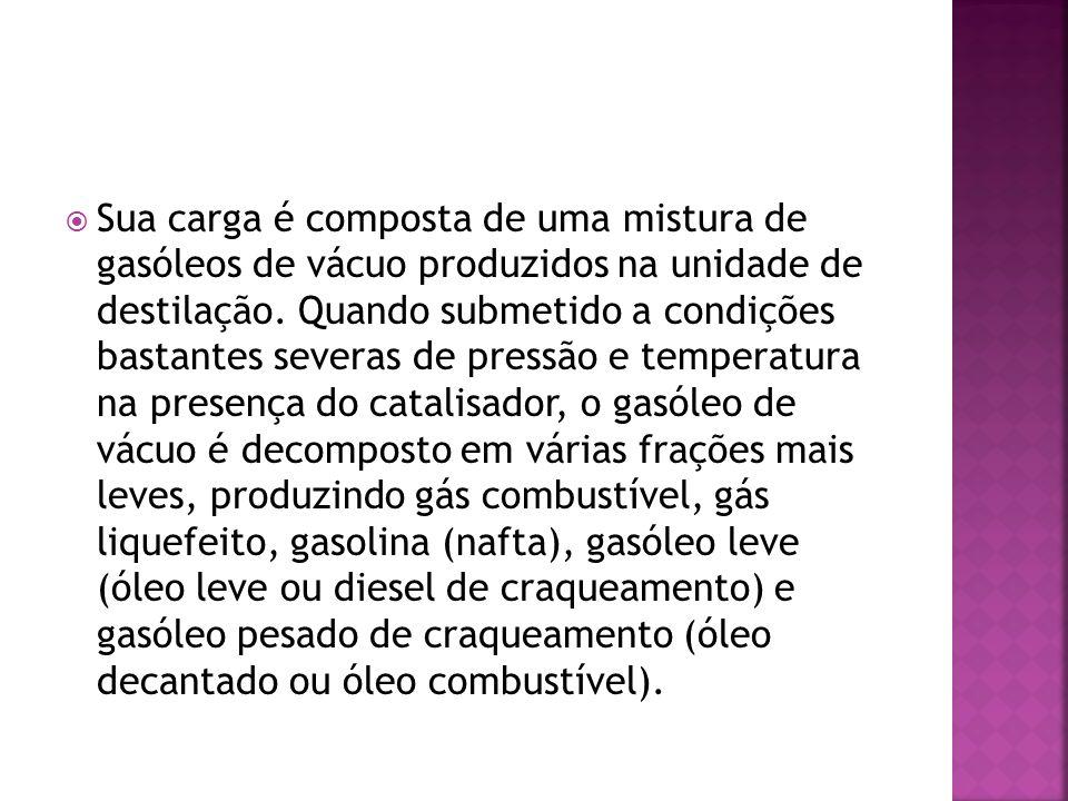 Sua carga é composta de uma mistura de gasóleos de vácuo produzidos na unidade de destilação.