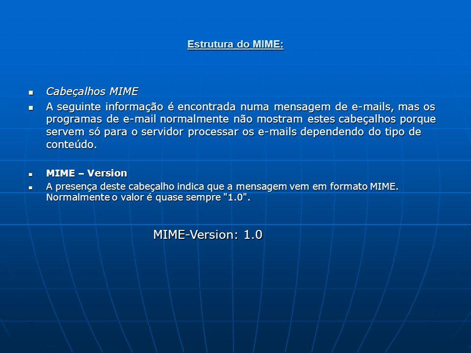 MIME-Version: 1.0 Estrutura do MIME: Cabeçalhos MIME
