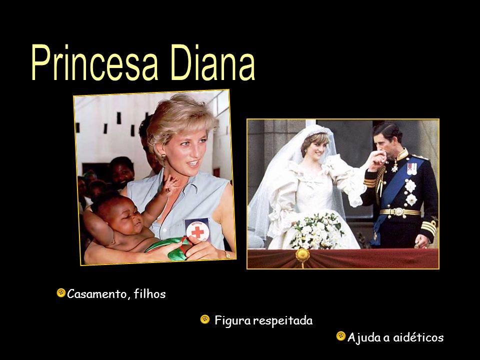 Princesa Diana Casamento, filhos Figura respeitada Ajuda a aidéticos