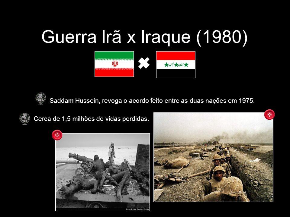 Guerra Irã x Iraque (1980) Saddam Hussein, revoga o acordo feito entre as duas nações em 1975.