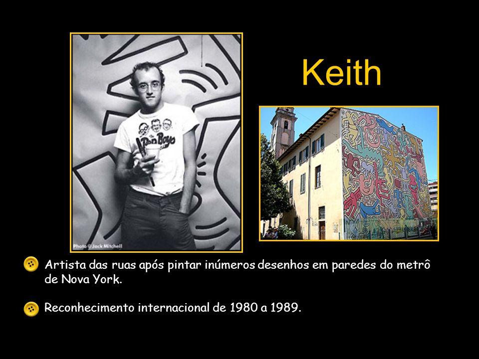 Keith Artista das ruas após pintar inúmeros desenhos em paredes do metrô de Nova York.