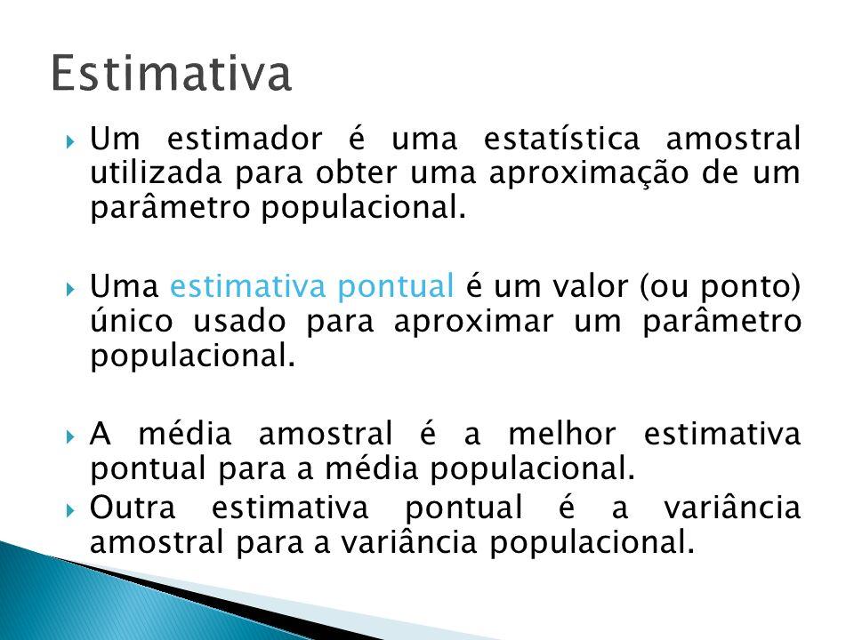 Estimativa Um estimador é uma estatística amostral utilizada para obter uma aproximação de um parâmetro populacional.