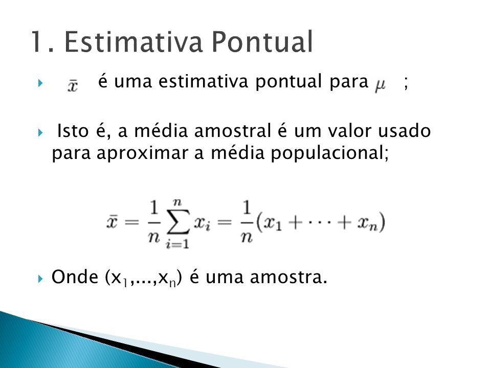 1. Estimativa Pontual é uma estimativa pontual para ;