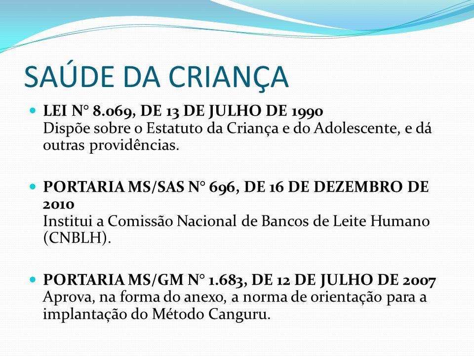 SAÚDE DA CRIANÇA LEI N° 8.069, DE 13 DE JULHO DE 1990 Dispõe sobre o Estatuto da Criança e do Adolescente, e dá outras providências.