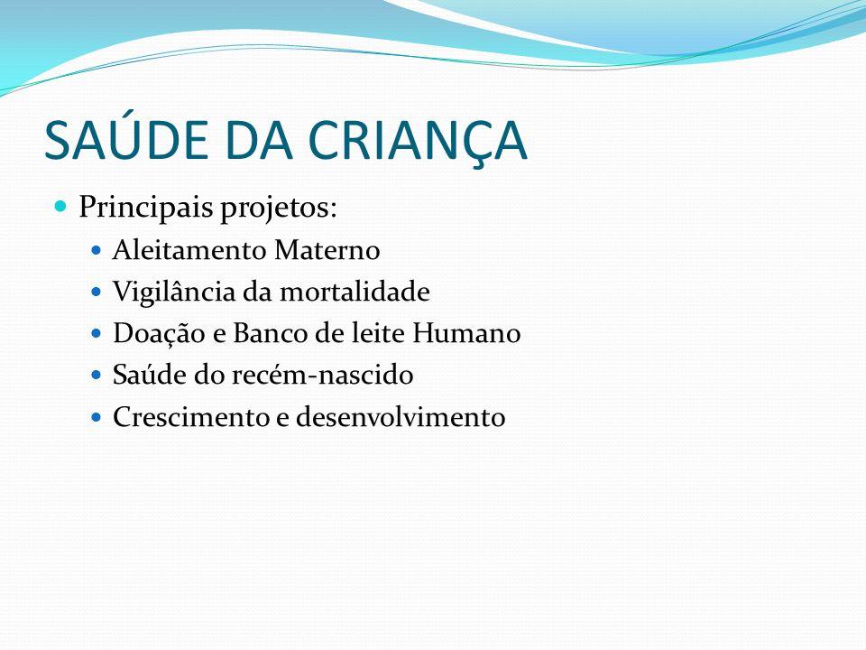 SAÚDE DA CRIANÇA Principais projetos: Aleitamento Materno