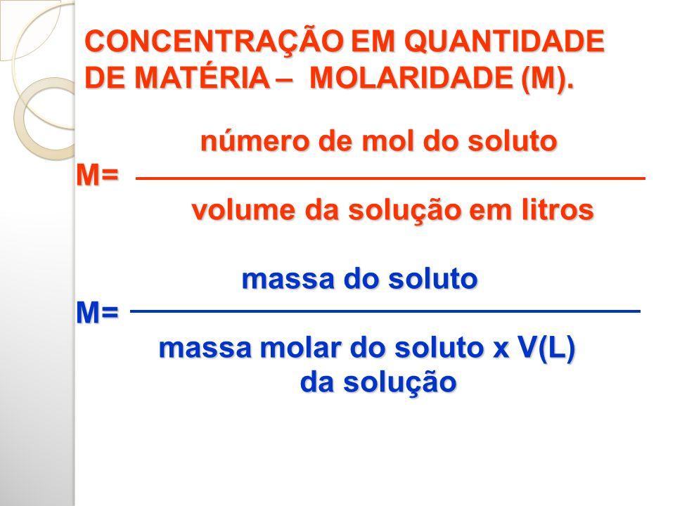 CONCENTRAÇÃO EM QUANTIDADE DE MATÉRIA – MOLARIDADE (M).