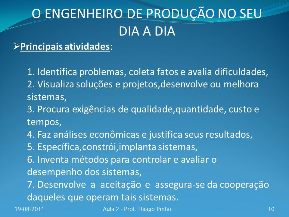 O ENGENHEIRO DE PRODUÇÃO NO SEU DIA A DIA