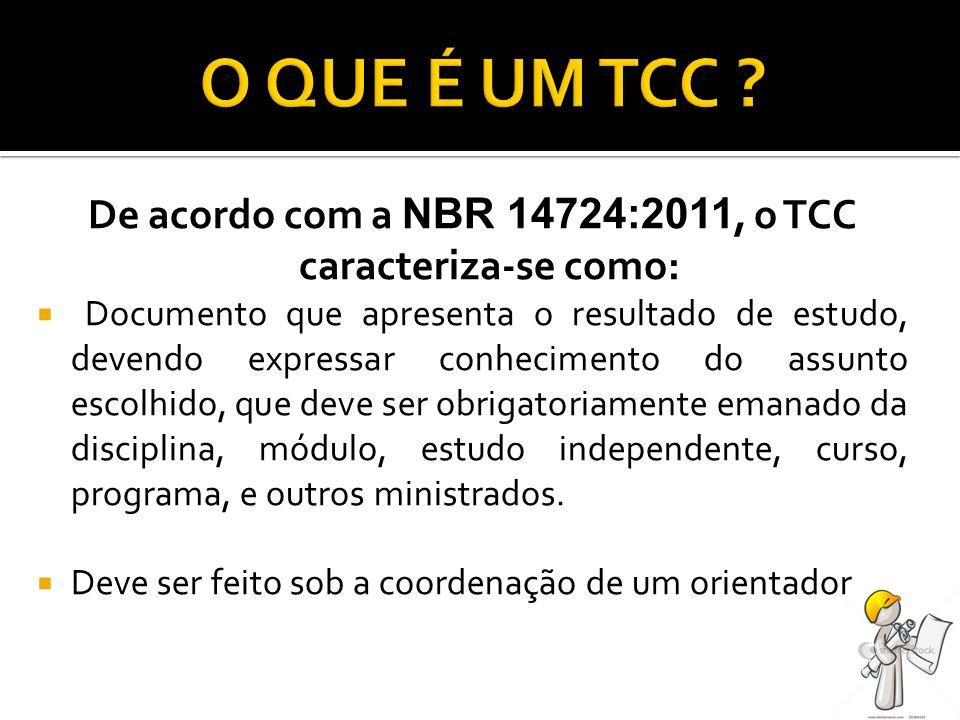 De acordo com a NBR 14724:2011, o TCC caracteriza-se como: