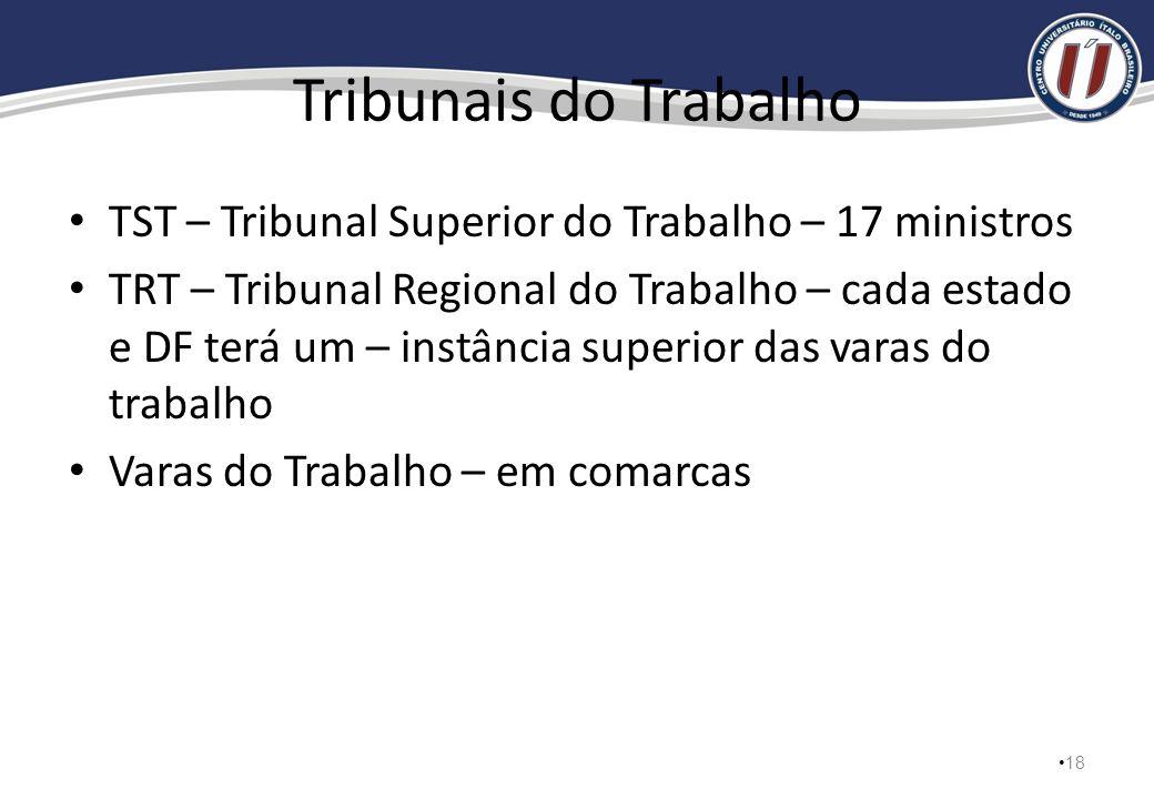 Tribunais do Trabalho TST – Tribunal Superior do Trabalho – 17 ministros.