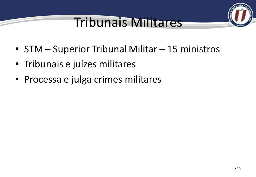 Tribunais Militares STM – Superior Tribunal Militar – 15 ministros