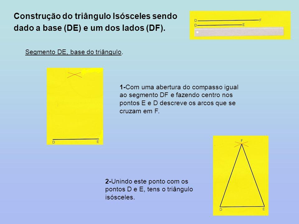 Construção do triângulo Isósceles sendo dado a base (DE) e um dos lados (DF).
