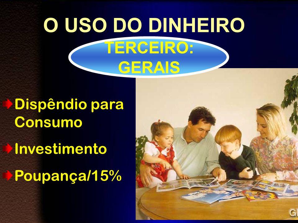 O USO DO DINHEIRO TERCEIRO: GERAIS Dispêndio para Consumo Investimento