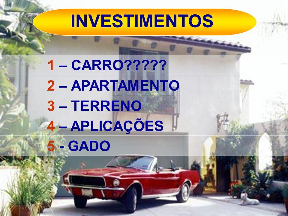 INVESTIMENTOS 1 – CARRO 2 – APARTAMENTO 3 – TERRENO