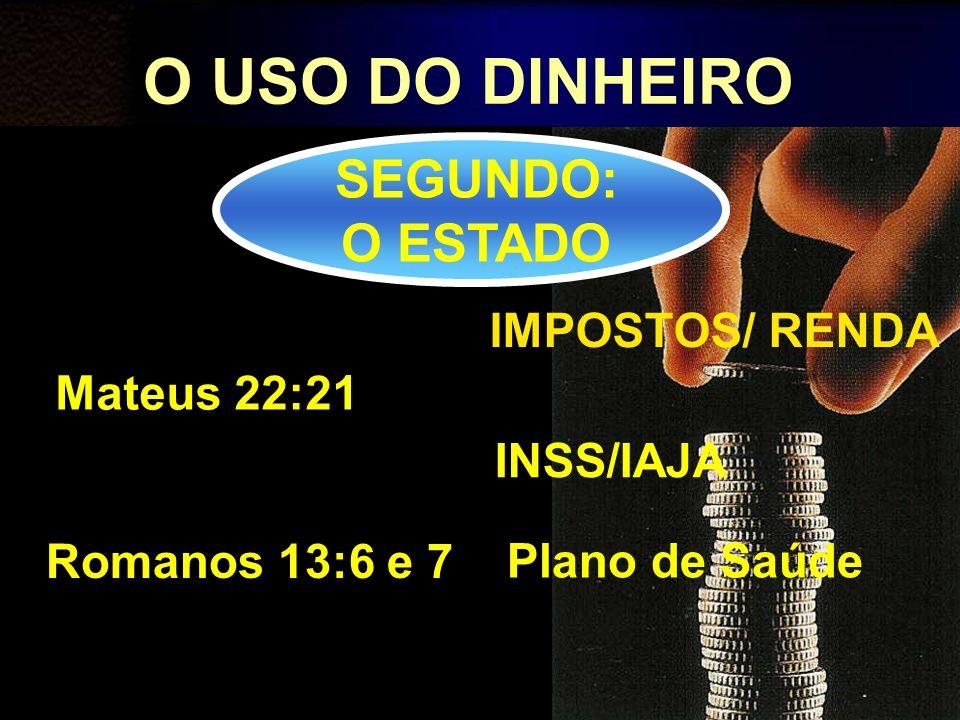 O USO DO DINHEIRO SEGUNDO: O ESTADO IMPOSTOS/ RENDA Mateus 22:21