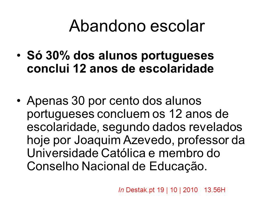 Abandono escolar Só 30% dos alunos portugueses conclui 12 anos de escolaridade.
