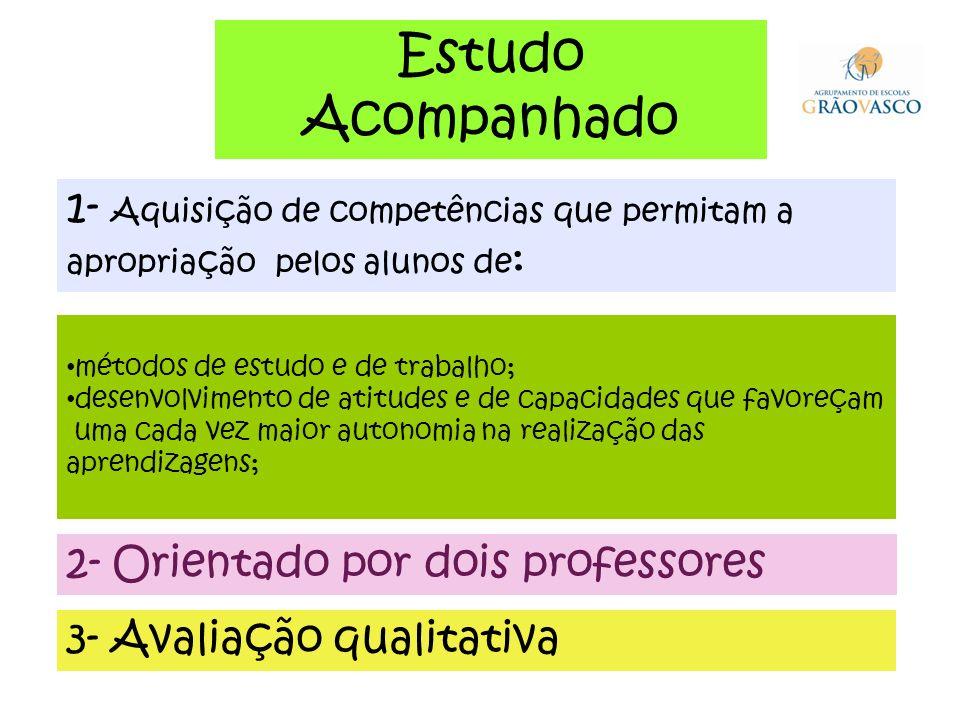 Estudo Acompanhado. 1- Aquisição de competências que permitam a apropriação pelos alunos de: métodos de estudo e de trabalho;