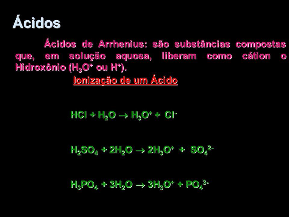 Ácidos Ácidos de Arrhenius: são substâncias compostas que, em solução aquosa, liberam como cátion o Hidroxônio (H3O+ ou H+).