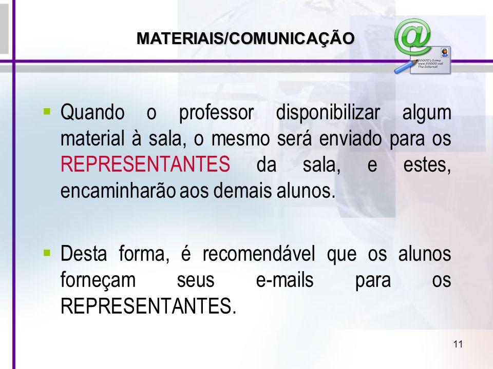 MATERIAIS/COMUNICAÇÃO