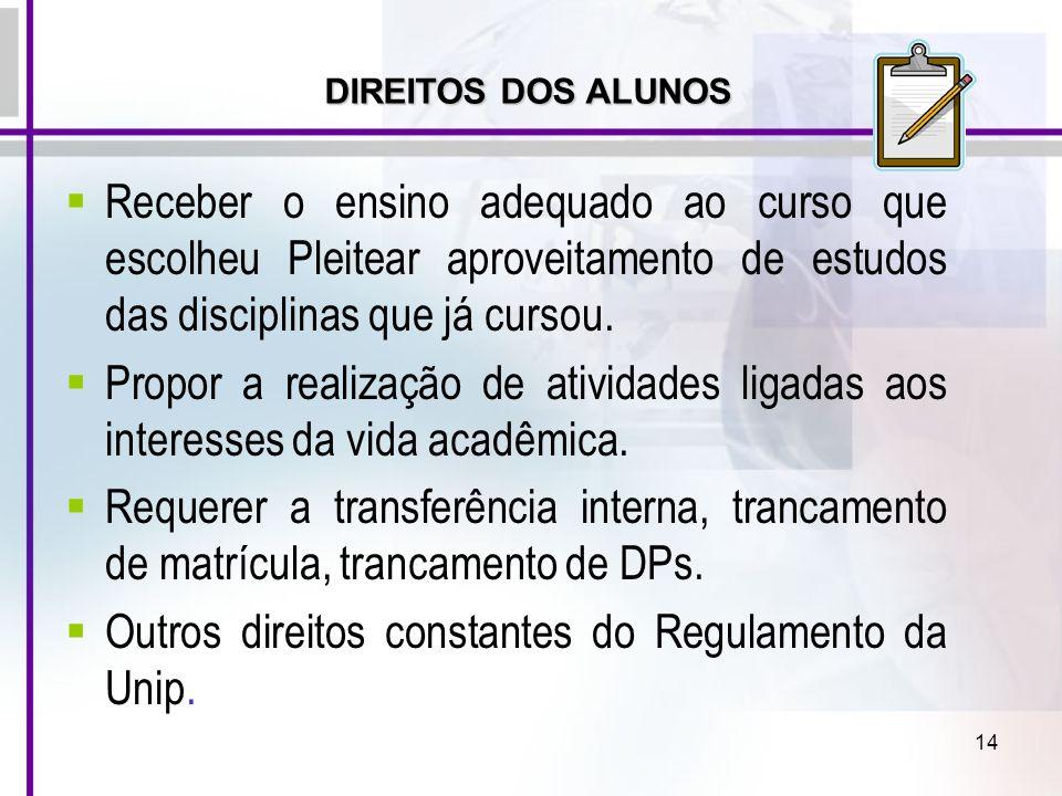 Outros direitos constantes do Regulamento da Unip.