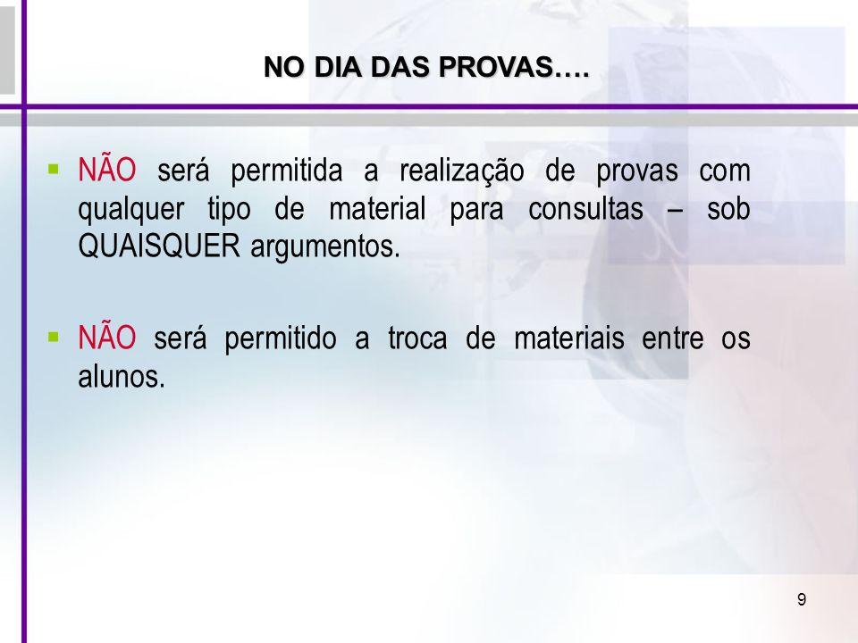 NÃO será permitido a troca de materiais entre os alunos.
