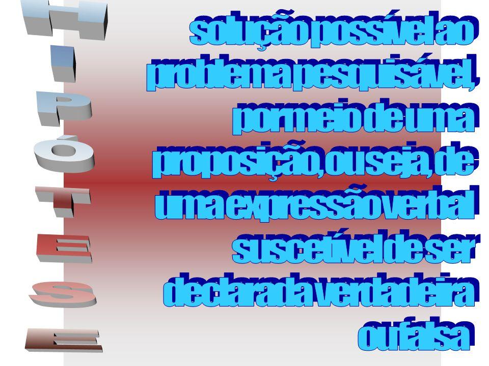 solução possível ao problema pesquisável, por meio de uma. proposição, ou seja, de. uma expressão verbal.