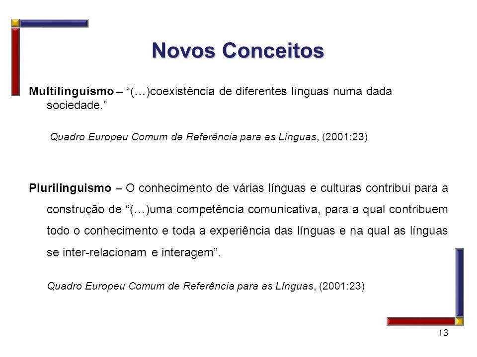 Novos ConceitosMultilinguismo – (…)coexistência de diferentes línguas numa dada sociedade.