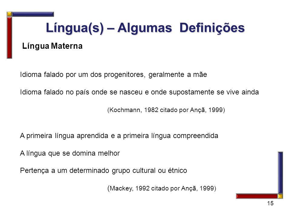 Língua(s) – Algumas Definições