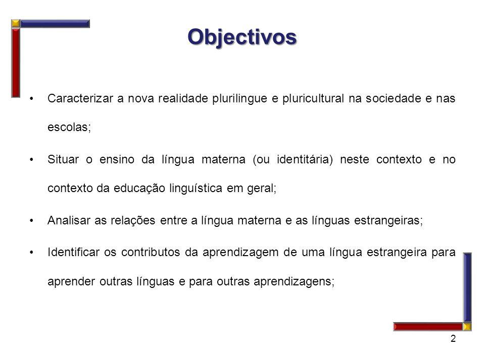 Objectivos Caracterizar a nova realidade plurilingue e pluricultural na sociedade e nas escolas;