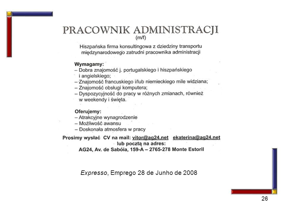 Expresso, Emprego 28 de Junho de 2008