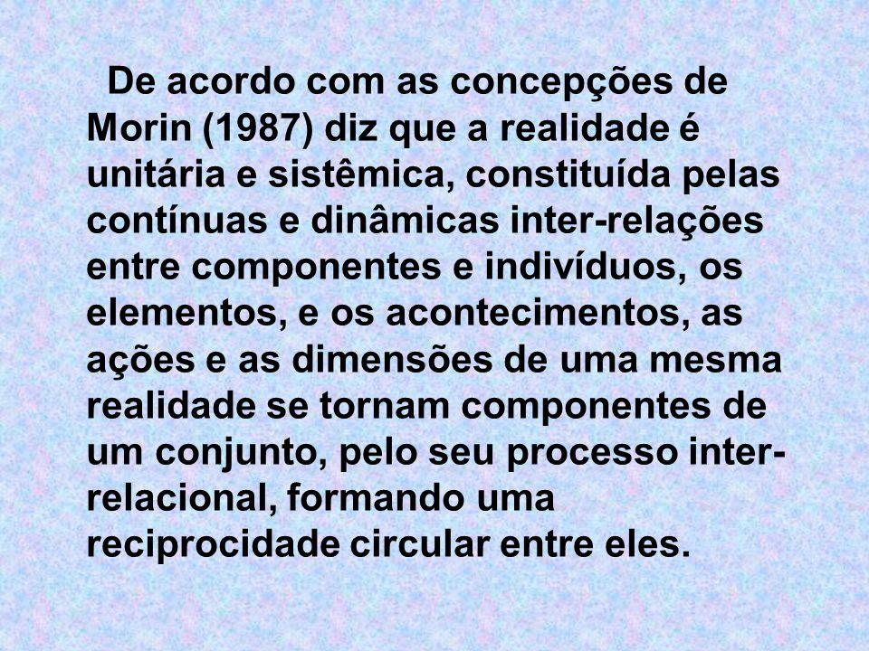 De acordo com as concepções de Morin (1987) diz que a realidade é unitária e sistêmica, constituída pelas contínuas e dinâmicas inter-relações entre componentes e indivíduos, os elementos, e os acontecimentos, as ações e as dimensões de uma mesma realidade se tornam componentes de um conjunto, pelo seu processo inter-relacional, formando uma reciprocidade circular entre eles.