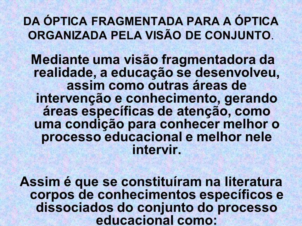 DA ÓPTICA FRAGMENTADA PARA A ÓPTICA ORGANIZADA PELA VISÃO DE CONJUNTO.