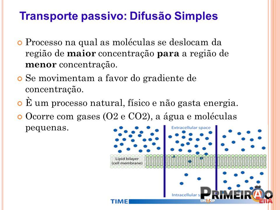 Transporte passivo: Difusão Simples