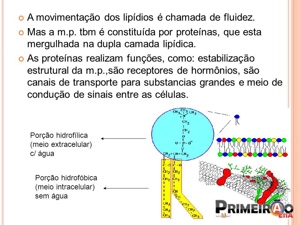 A movimentação dos lipídios é chamada de fluidez.
