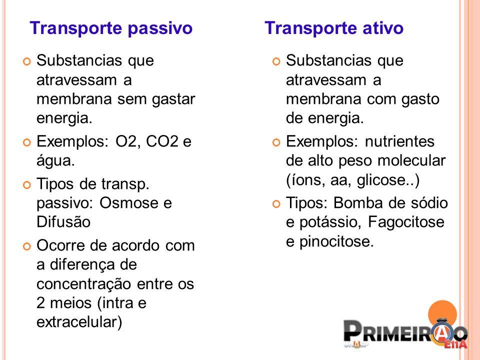 Transporte passivo Transporte ativo