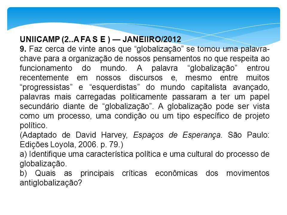 UNIICAMP (2..A FA S E ) — JANEIIRO/2012
